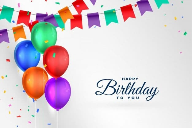 colorfull greeting card design with balloons